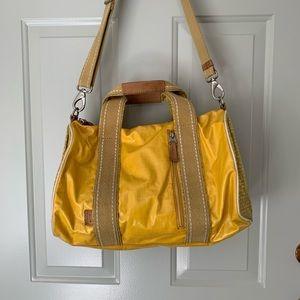 FOSSIL waxed canvas weekender duffel bag yellow